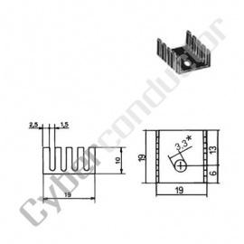 Dissipador Transístor TO05/TO39 55ºC/W (ML61)