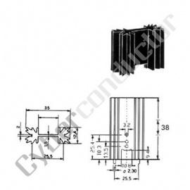 Dissipador Transístor TO220 8ºC/W (ML73/1.5)