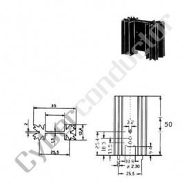 Dissipador Transístor TO220 8ºC/W c/ pinos(ML73/1.5P)