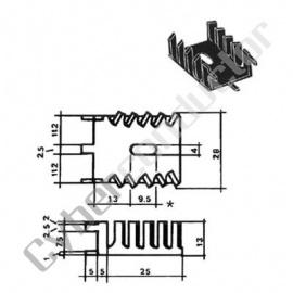 Dissipador Transístor TO220 6ºC/W c/ pinos (ML73/50P)