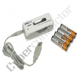 Carrg de Viag USB +4 pilhas AA 2500mAh (NiMH+NiCd)