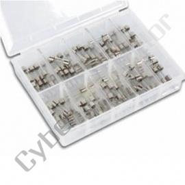 "Conjunto de 100 Fusíveis de vidro de 5X20mm,  diversos valores,  tipo ""F"" (Rápidos), 0.1~5Amp"